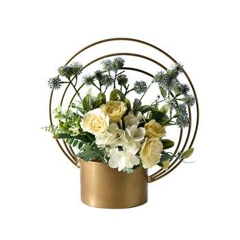 Florero de Metal moderno europeo florero Floral invitado restaurante escritorio creativo flor soporte hogar jardín escritorio Oficina Mesa Decoración