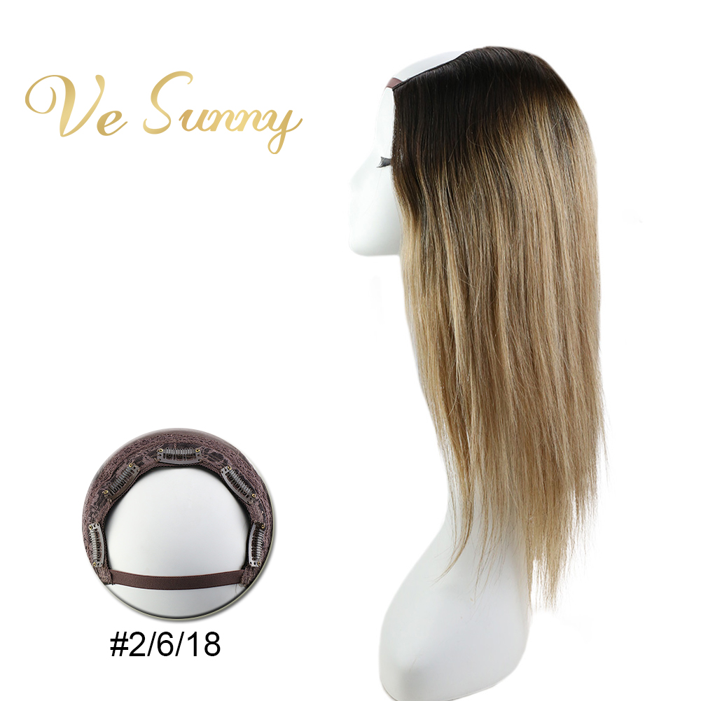 VeSunny U Part Half Wig 100% Real Human Hair With Clips On Balayage Ombre Brown To Blonde #2/6/18 Machine Made Remy Hair