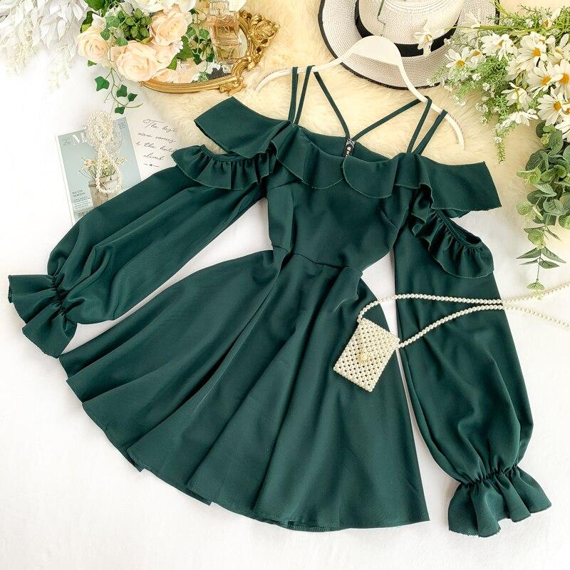 2020 сексуальное платье с оборками на весну и осень, Мини Короткое платье с открытыми плечами, вечерние женские повседневные платья трапециев...