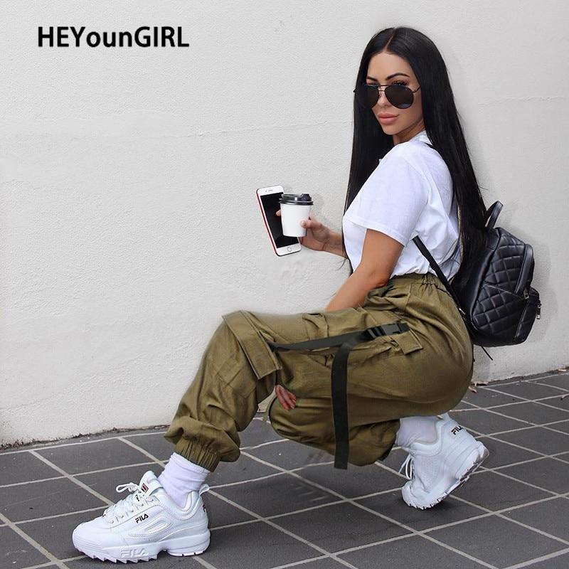 HEYounGIRL Hip Hop Black High Waist Pants Capris Streetwear Harajuku Cargo Pants Women Casual Sweatpants Pockets with Straps