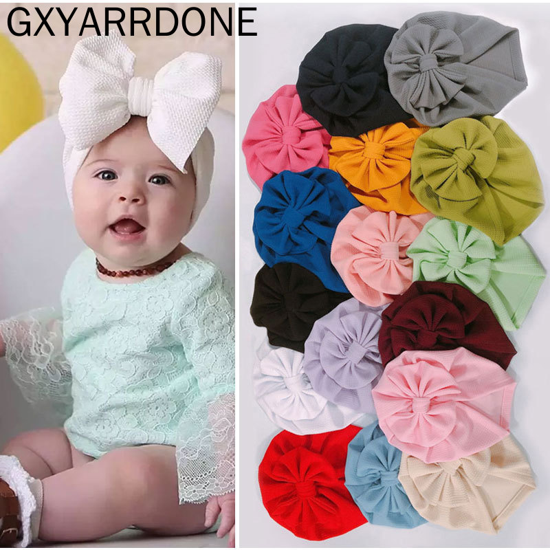 Soft Corn Baby Bowknot Turban Hat Toddler Kids Cotton Hair Accessories Stretch Headwraps Infant Indian Knotted Cute Beanie Caps