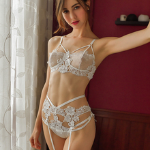 Sexy Woman Lingerie Lace Flower Embroidery Bra Panties Garter Underwear 3Pcs Set Women Sleep Wear Transparent Bra Set