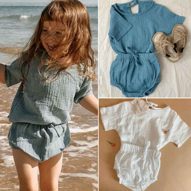 2020 Newest Hot Newborn Infant Kids Baby Boy Girl Clothes Cotton&Linen Tops T-Shirts+Shorts Pants 2pcs Summer Outfits Set