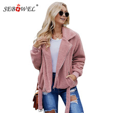 SEBOWEL New Woman Sherpa Jacket Coats with Pocketed Outwear 2019 Fashion Warm Autumn Winter Female Jackets Clothes Size S-XXL