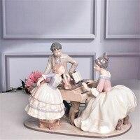 Elegant Piano Family Art Sculpture Western Woman Statue Beauty Girl Figurines Ceramic Crafts Creative Home Decoration R5302