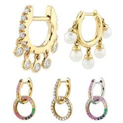1pc Ear Bone Buckle Huggie Earrings Female Fashion Crystal Pearl Small Circle Hoop Earrings for Women Minimalist Jewelry