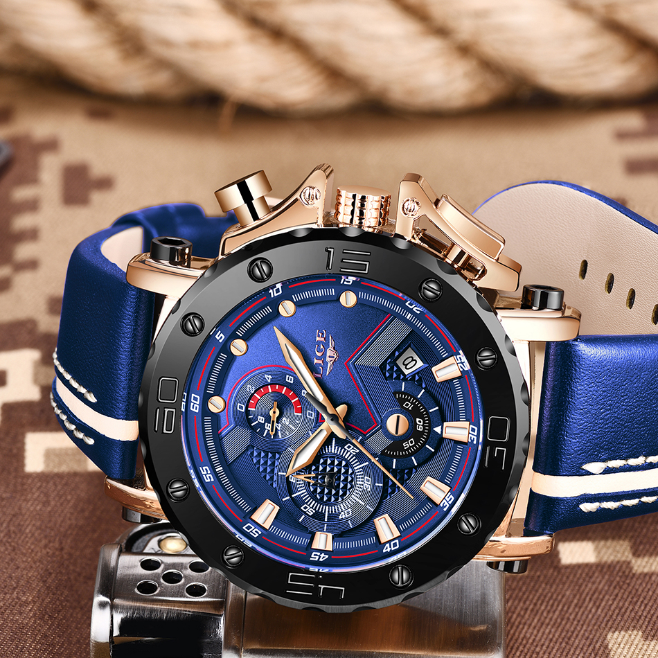 H35146924e85e4757a487c23ade05a4ecK Relogio Masculino New LIGE Sport Chronograph Mens Watches Top Brand Casual Leather Waterproof Date Quartz Watch Man Clock