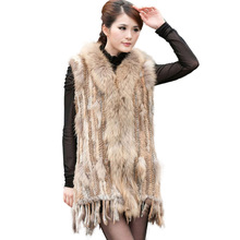 Women Genuine Natural Real rabbit fur Knitted Vests Waistcoat gilet coats with tassels Raccoon Dog Fur