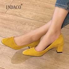 Модная Осенняя обувь; Женские замшевые туфли на толстом каблуке