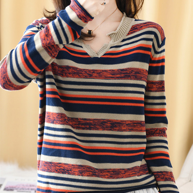 Smpevrg 2019 New 100% Cotton Korean Women's Long Sleeves Autumn Loose Striped Fashion Inside Thin Section Knit Top Shirt