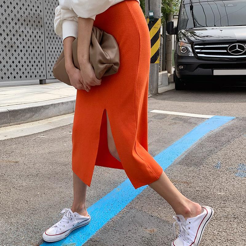 Оранжевый трикотажные юбки для женщин с эластичной резинкой на талии, Разделение юбка-карандаш в Корейском стиле Повседневная Bodycorn Длинная...