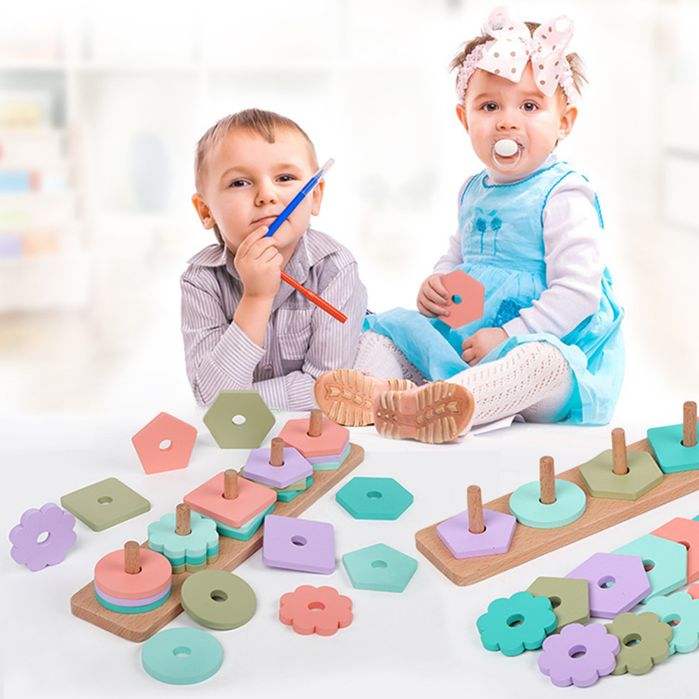 Baby Kids Rainbow Wooden Column Blocks Sets Educational Geometric Shape Matching Toys Children Stacking Toys High Quality