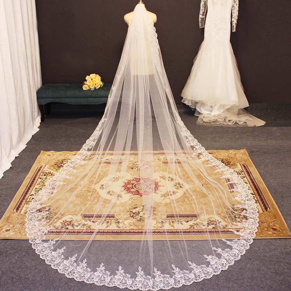 New Arrival Full Edge With Lace Long Wedding Veil 3.5 Meters One Layer Bridal Veil Veu De Noiva Veil With Comb Bride Accessories