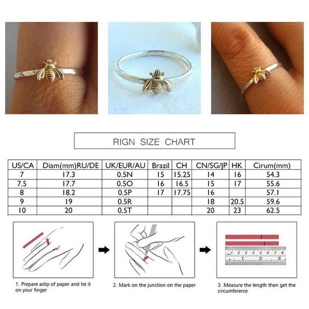 1Pcs Sederhana Kecil Padat Warna Emas Alloy Lebah Jari Cincin Emas Dipalu Band Susun Cincin Pernikahan Perhiasan