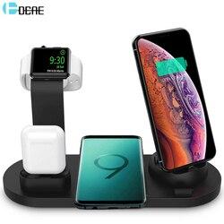 Dcae 10 w qi carregador sem fio para iphone 11 8 x xr xs samsung s10 s9 3 em 1 estação de carregamento rápido para apple watch 2 3 4 5 airpods