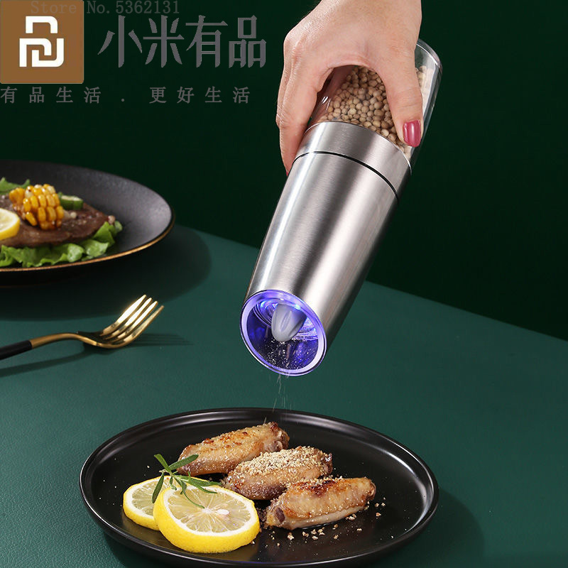 Youpin Electric Automatic Mill Pepper Salt Grinder LED Light Peper Spice Grain Mills Porcelain Grinding Core Mill Kitchen Tools