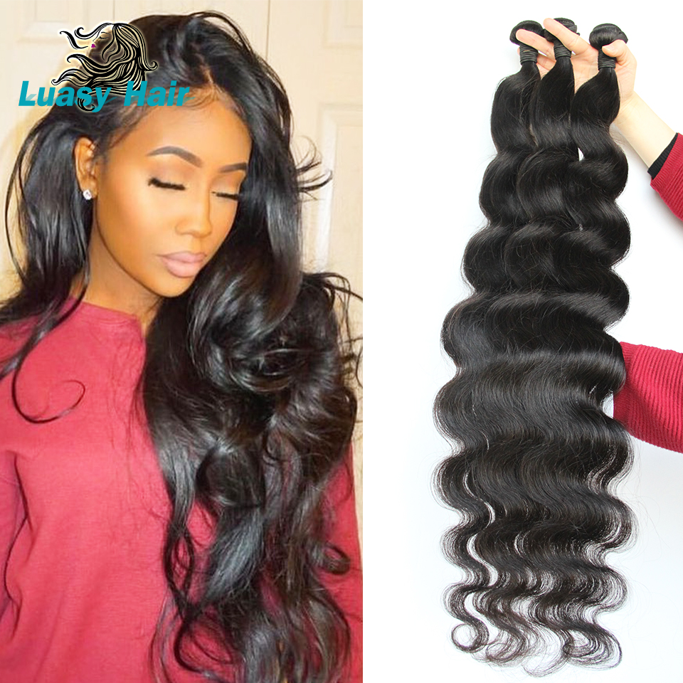 Luasy Body Wave Brazilian Hair Weave Bundles 100% Remy Hair Extensions Natural Color 30 32 34 36 38 40 Inch Human Hair Bundles 1