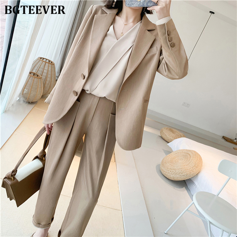 Elegant Khaki Women Pant Suit Single-breasted Blazer Jacket & Straight Pant Female Blazer Suit Set Workwear Trouser Suit 2019