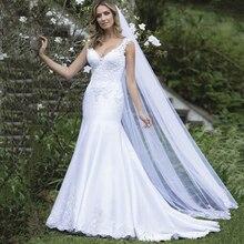 Sexy V Neck Backless Satin Mermaid Wedding Dress 2019 Lace Embroidery Vintage Vestido De Noiva mariage wedding-dress