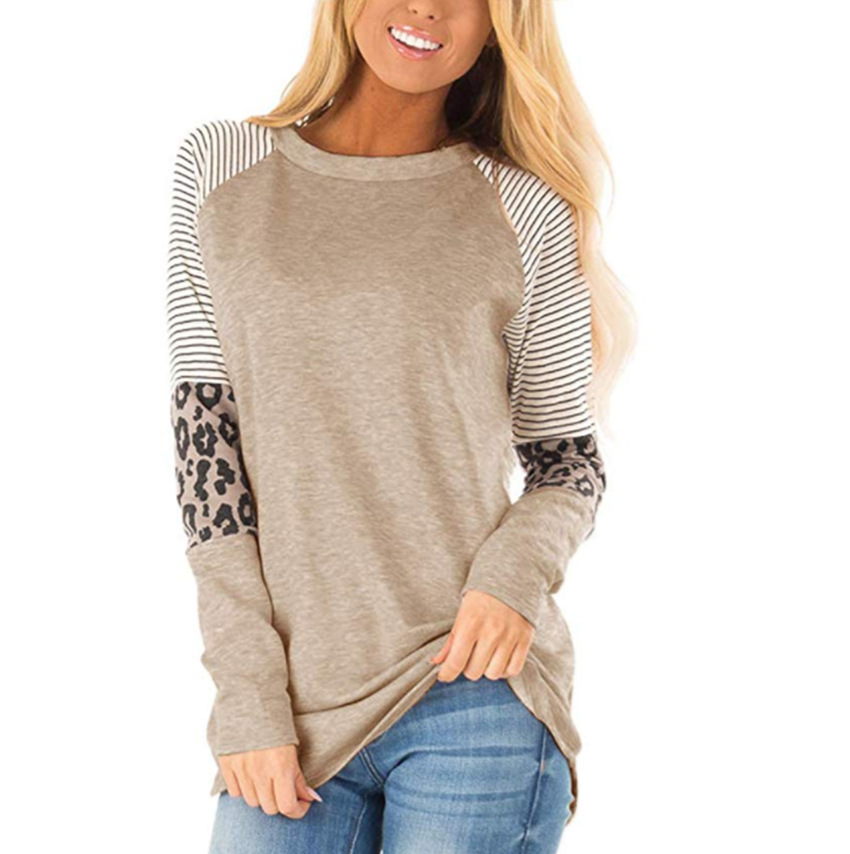 2019 Autumn Women Long Sleeve Leopard Print Spelling Color O Neck Patchwork T-shirts Casual Top Tees Winter Plus Size Female