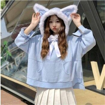 Cute Ear Spring Women Hoodies Japanese Cat Girl Harajuku Sweatshirt Winter Female Tops Shirts Loose Kawaii Outwear Swearshirt