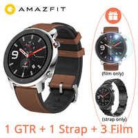 """Globalna wersja Huami AMAZFIT GTR 47mm inteligentny zegarek 5ATM 1.39 """"AMOLED GPS + GLONASS Smartwatch mężczyźni 24 dni sterowanie muzyką baterii"""
