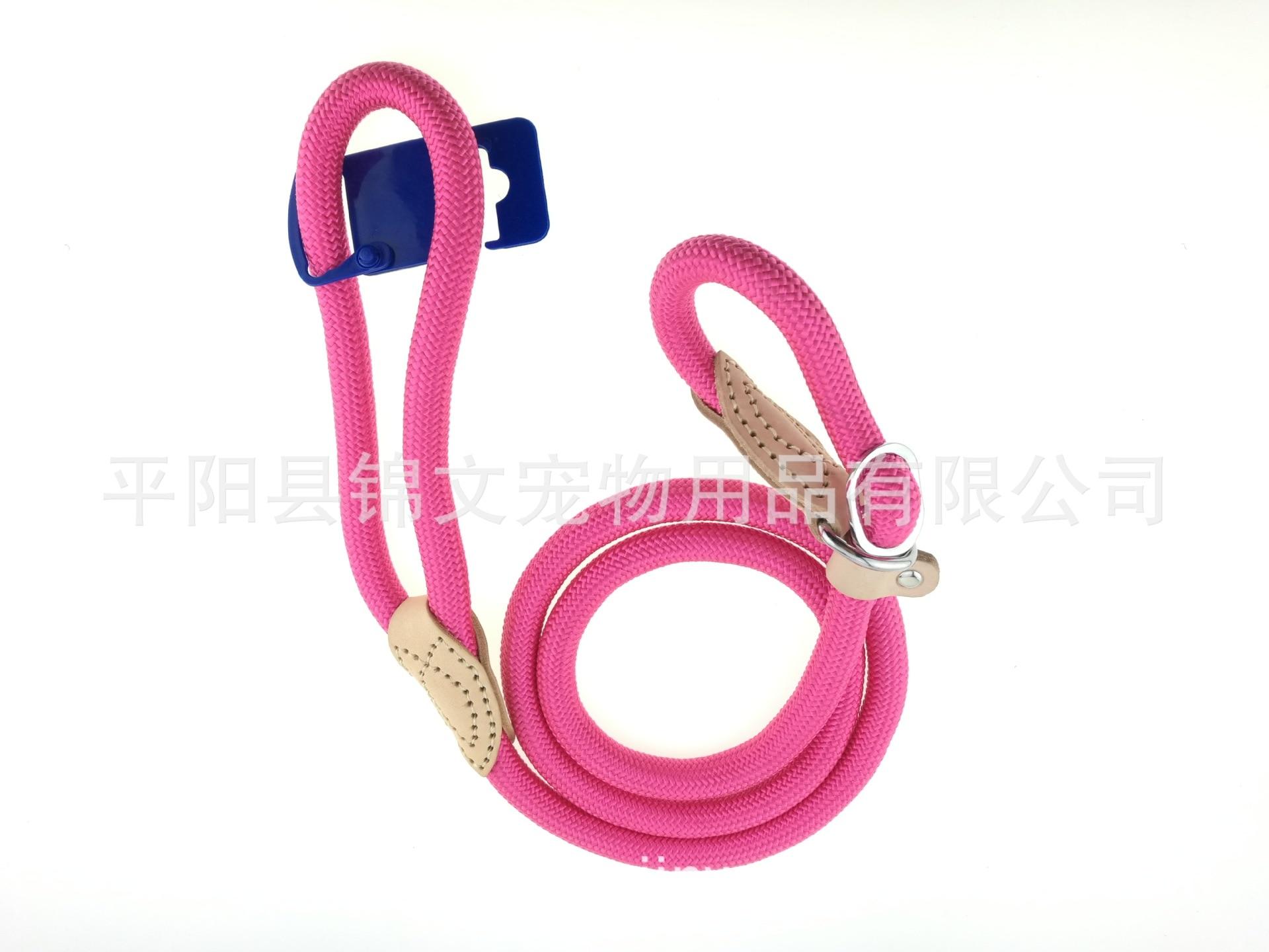 Pet Round Rope P Pendant Nylon Dog Traction Genuine Leather Sew Joint Dog Training Pendant Sub-Pet Supplies