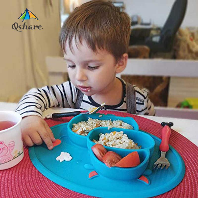 Qshareเด็กซิลิโคนจานชามเด็กอาหารคอนเทนเนอร์Placematทารกจานชามดูด