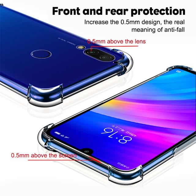 Coque de téléphone en Silicone antichoc de luxe pour Xiaomi Redmi note 8 7 5 Pro Redmi 7A Xiaomi mi 9t 9 A3 housse de Protection transparente 3