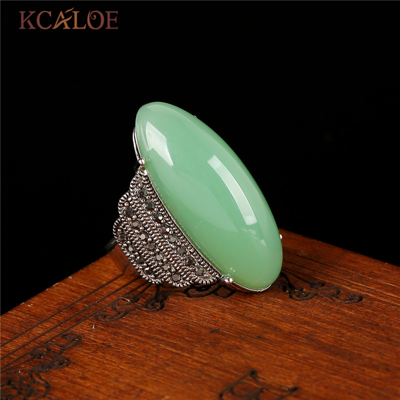 KCALOE Antik argjend me ngjyra të gjelbërta me gurë unazë të kuqe Onyx Unaza të verdhë prej guri natyror Bizhuteri Vintage Rhinestone Vintage