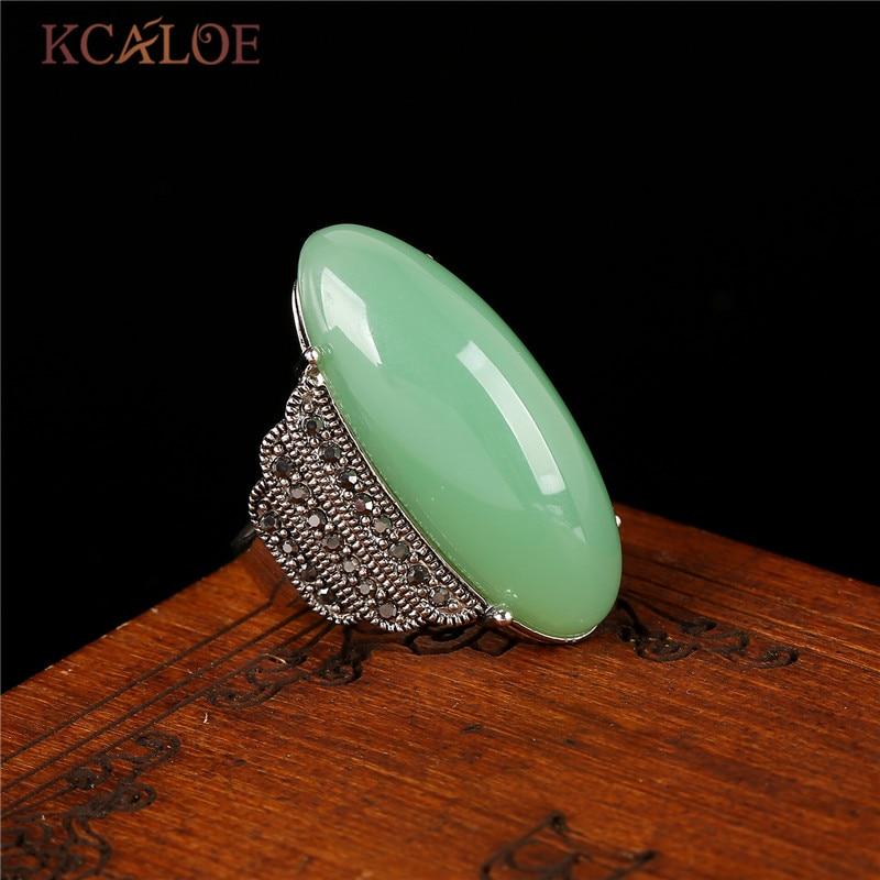 KCALOE Antique Ασημί Χρώμα Πράσινο Πέτρες Δαχτυλίδι κόκκινο Onyx Κίτρινο Φυσικό πέτρινα δαχτυλίδια Μαύρο Rhinestone Vintage Κοσμήματα