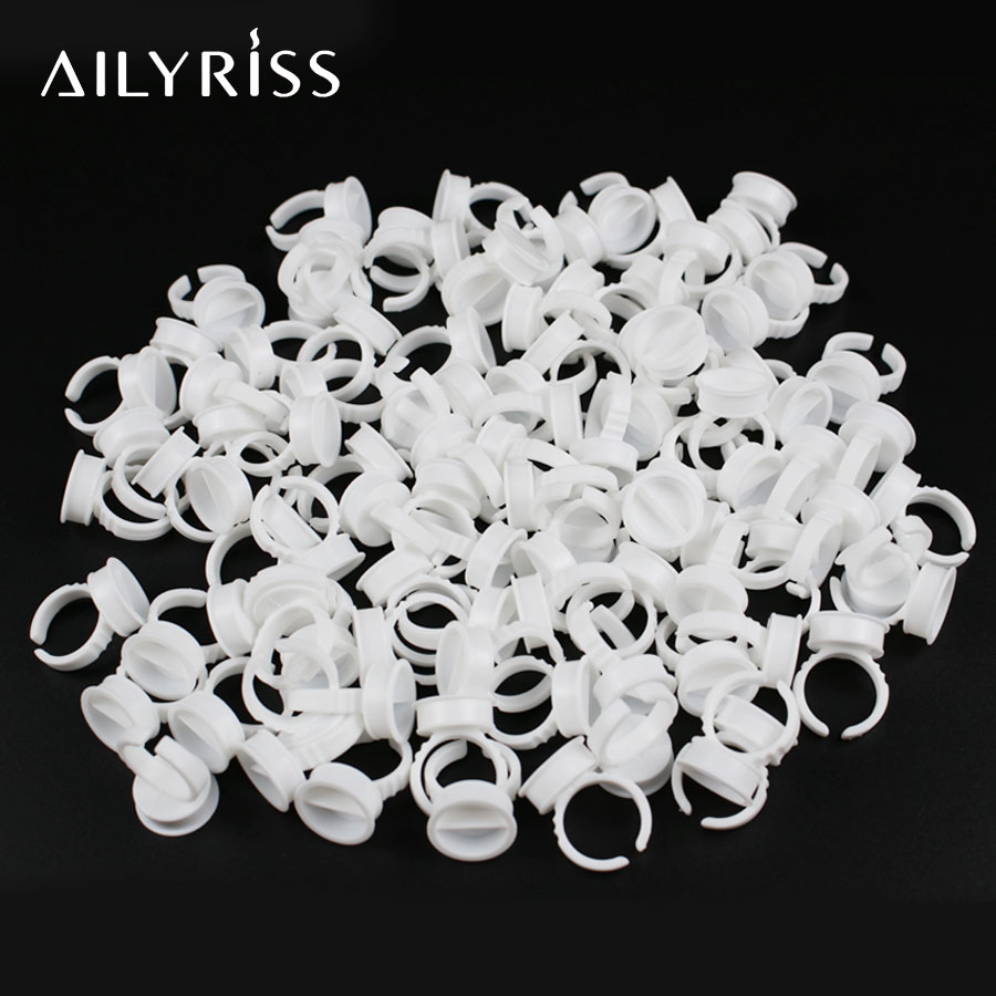 Tattoo Pigment Tools 100pcs Disposable Rings For Lashes Rings Cups Eyelash Extension Glue Holder Lashes Accessories AILYRISS