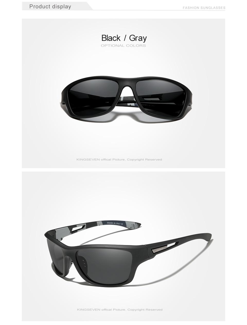 KINGSEVEN Ultralight Frame Polarized Sunglasses Men Fashion New Sports Style Square Sun Glasses Male Outdoor Travel UV Goggles
