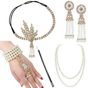 1920s Great Gatsby Accessories Set for Women 20s Costume Flapper Headband Pearl Necklace Bracelet Earring Cigarette Holder