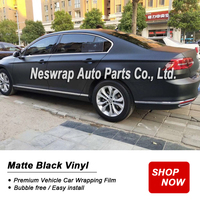 premium Matte Black Vinyl Film Wrap Car DIY Sticker Vehicle Decal Matte Black vinyl Body Color Film Low viscosity Self adhesive