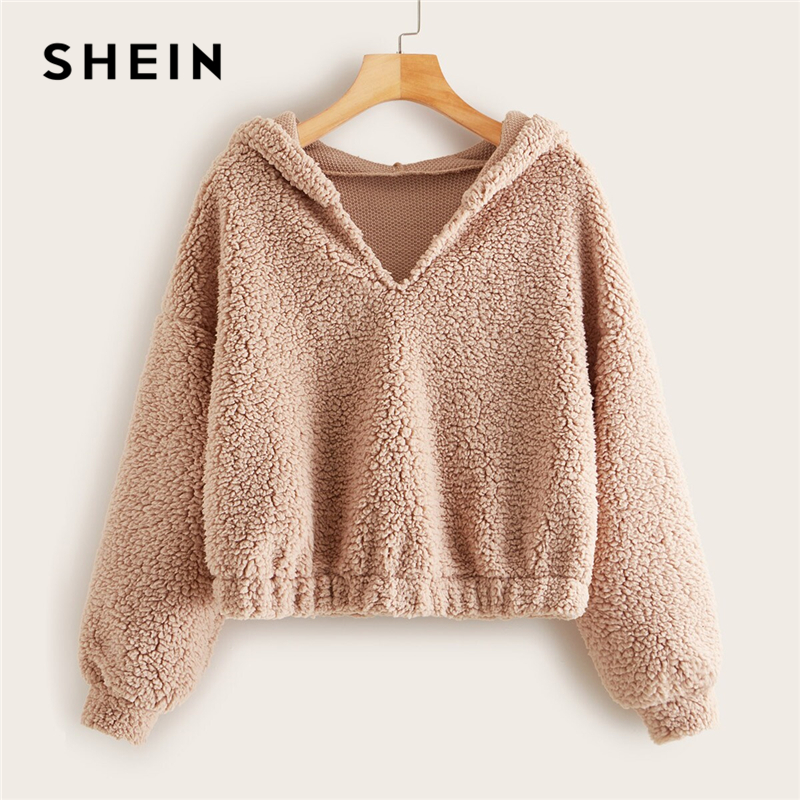 SHEIN Solid Drop Shoulder Hooded Teddy Sweatshirt Pullover Women Autumn Winter Basic V Neck Cropped Casual Sweatshirts