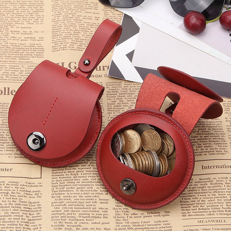Contact's Genuine Leather Women Wallets Mini Coin Purses Red Ladies Small Money Bags Cute Pendant Earphone Storage Leather Bag