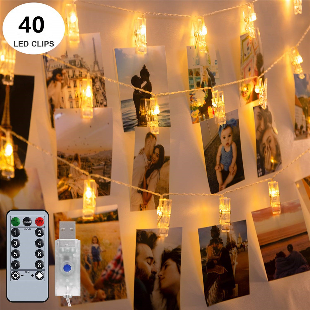 6M LED Light String 40 Clothespin Photo Holder Remote Control 8 Change Modes USB Battery Powered Fairy Garland For Party Photos
