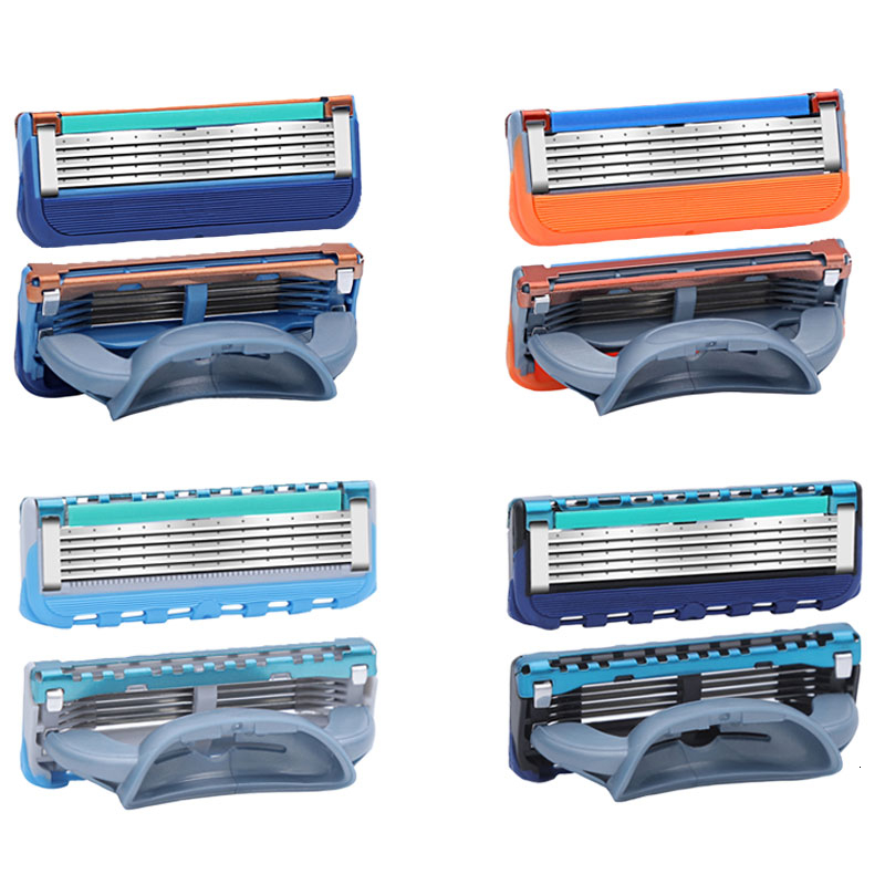 Men Manual Shaving Razor Blades 5 Layers Stainless Steel Replacement Heads For Gillettee Fusione 20pcs/Pack Shaving Cassettes 4