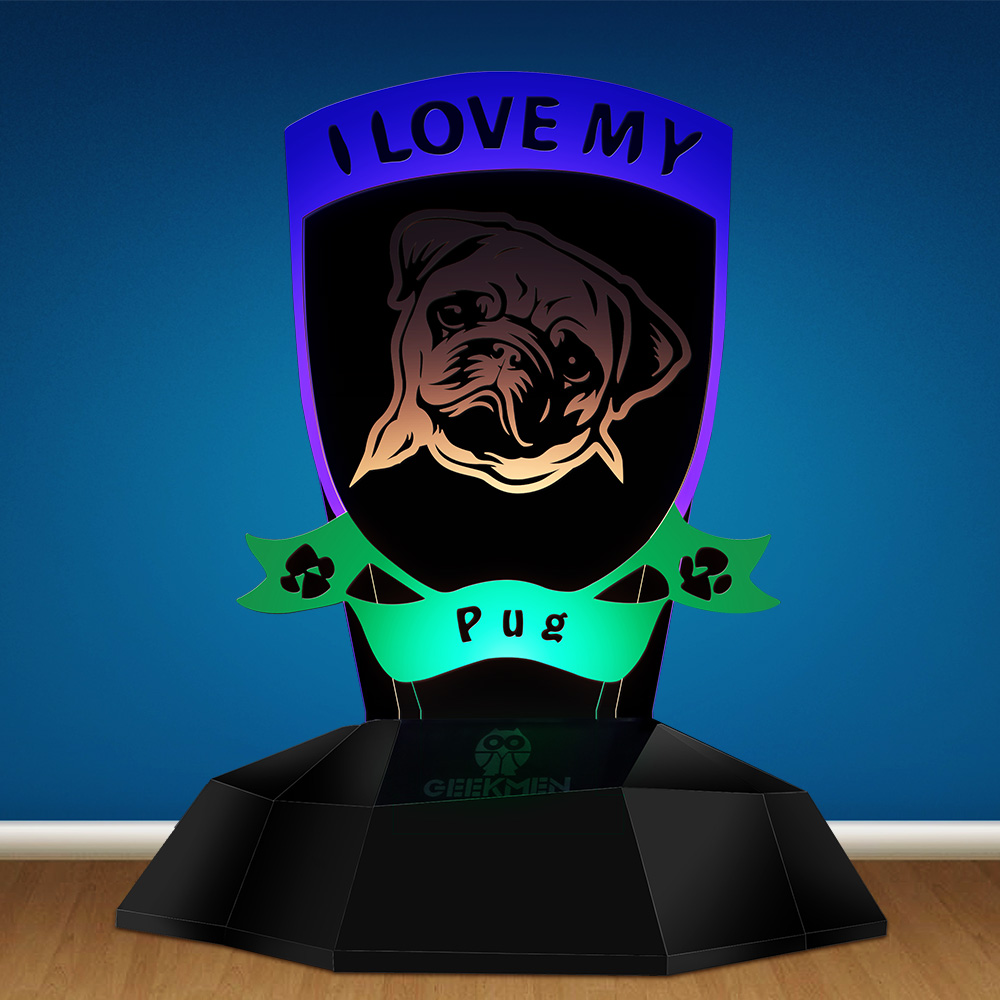 I Love My Pug 3D Optical Line Lamp LED Night Light Funny Pug Dog Breed Designed Table Lamp Novelty Light Puppy Pet Lovers Gift