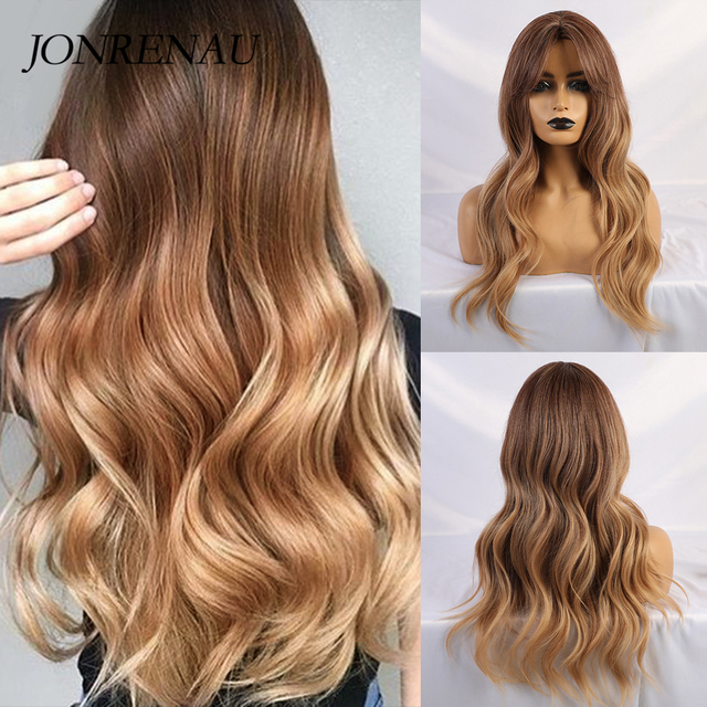 Pelucas de pelo sintético ondulado rizado largo JONRENAU, pelucas de pelo marrón a rubio con flequillo para fiestas de mujeres blancas/negras o diarias