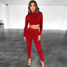 Tight High Collar Umbilical Tops Trousers Suit Autumn Winter Sexy Temperament Women's Fashion Trousers Suit Red Tracksuit Women(China)