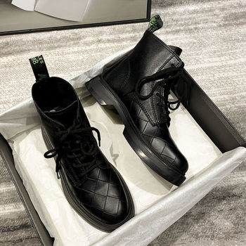 New All-match Autumn Breathable Motorcycle Short Boots Genuine Leather Black Riding Female British Style Fashionable - discount item  49% OFF Women's Shoes