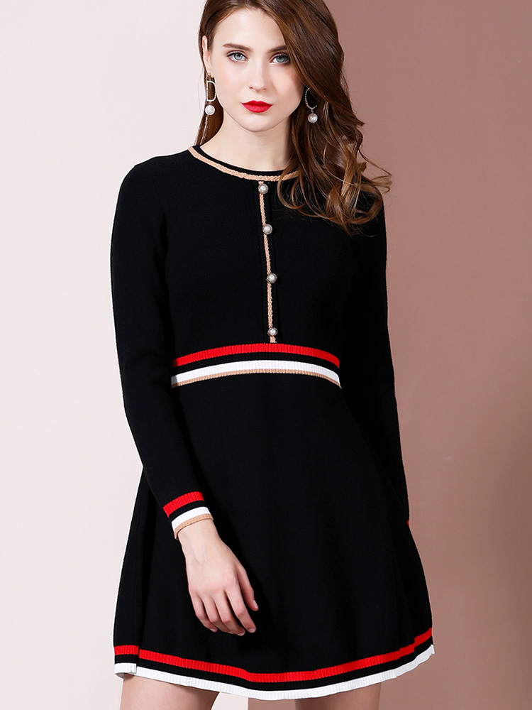 Black Knitted Dress Ladies Office A Line Streetwear Europe And America Winter Spring Long Sleeve Fashion Sexy Birthday Dresses Dresses Aliexpress