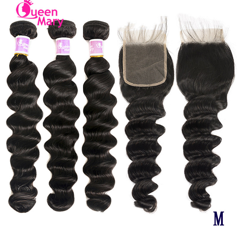 Loose Deep Curls Bundles With Closure Brazilian Hair Weave Bundles With Closure Queen Mary Helix Wave Non-Remy 100% Human Hair