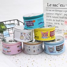 Large-capacity Round Cosmetic Bag Creative Cat Eating Fish Pattern Canned Type Storage Can  Lipstick Box