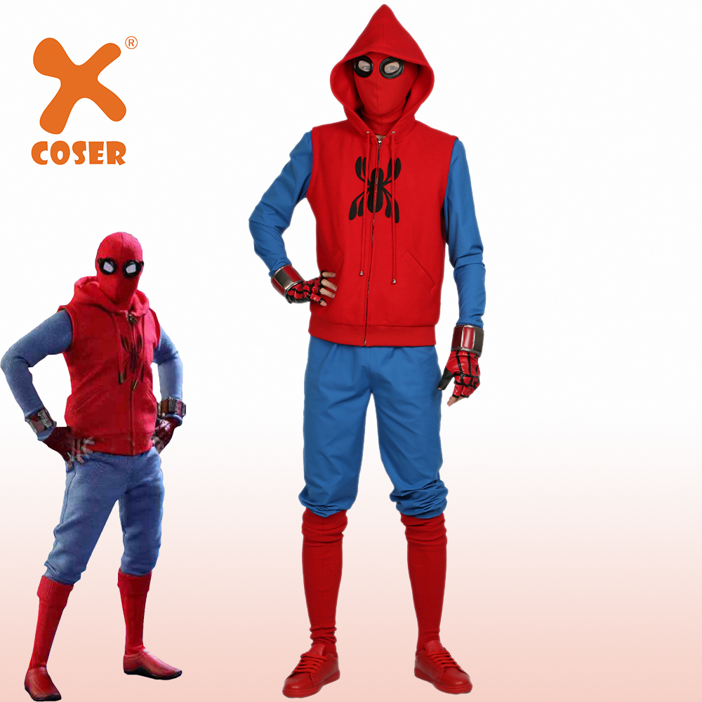 Xcoser Nouveaute Spider Man Costume Fait Maison Super Heros Film Spider Man Retour Cosplay Tenues Deguisement D Halloween Pour Hommes Adulte Aliexpress