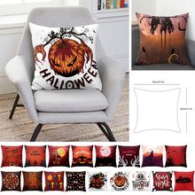 Halloween Pillowcases Ghost Witch Pumpkin Seat Sofa Pillow Cover Linen Cotton Square Green Cushion Cover For Home Decoration(China)