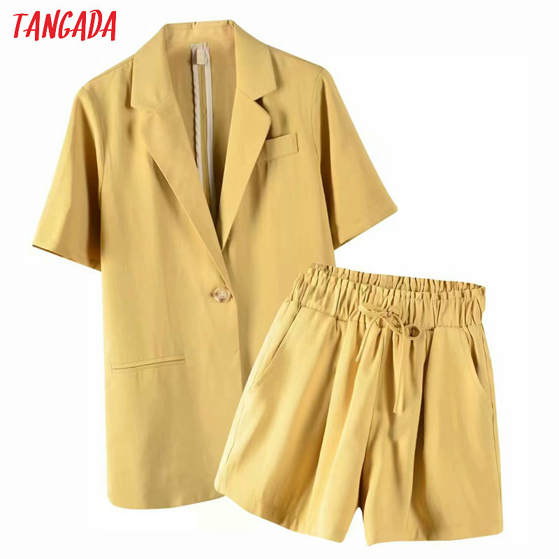 Tangada 2020 Summer Female Yellow Short Sleeve Blazer Shorts Set Suit 2 Piece Set Suit And Shorts 8X04