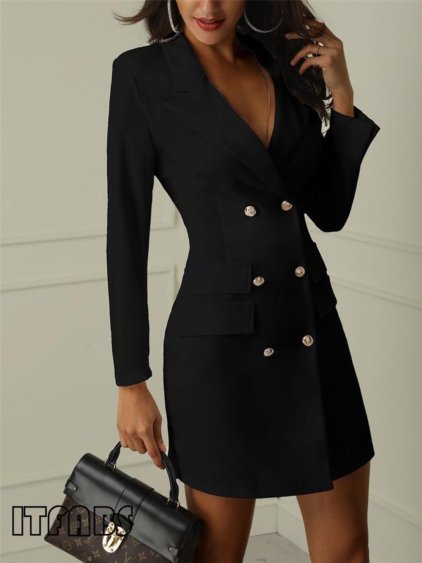 H3515ed408d274226b26ed77b0ff07fc0d Autumn Winter Suit Blazer Women 2019 New Casual Double Breasted Pocket Women Long Jackets Elegant Long Sleeve Blazer Outerwear